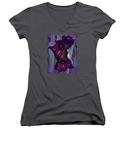 Black Crimson Gladiolus Women's V-Neck T-Shirt