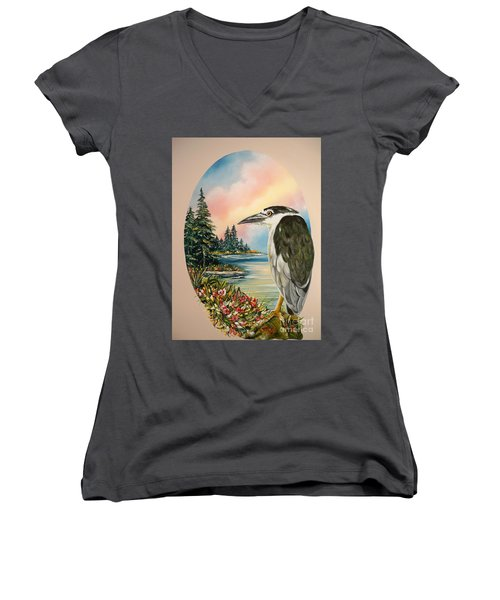 Women's V-Neck T-Shirt (Junior Cut) featuring the painting Black Crowned Heron by Sigrid Tune