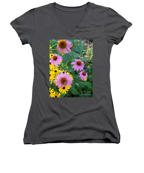 Black Eye Susans And Echinacea Women's V-Neck T-Shirt (Junior Cut) by Eric  Schiabor