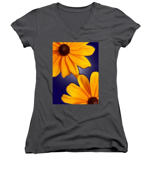 Black-eyed Susans On Blue Women's V-Neck T-Shirt