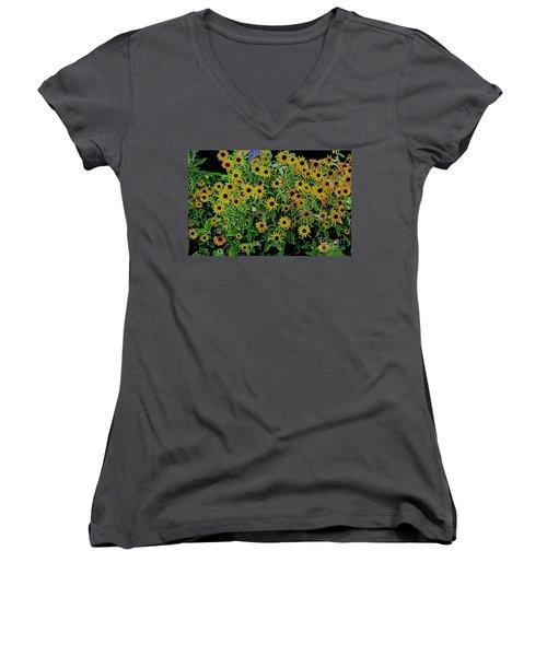 Black Eyes 3 Women's V-Neck T-Shirt (Junior Cut)