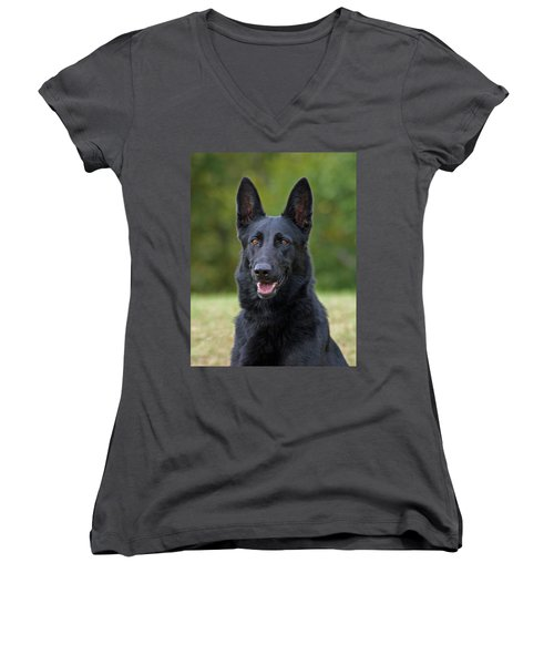 Black German Shepherd Dog Women's V-Neck T-Shirt (Junior Cut) by Sandy Keeton