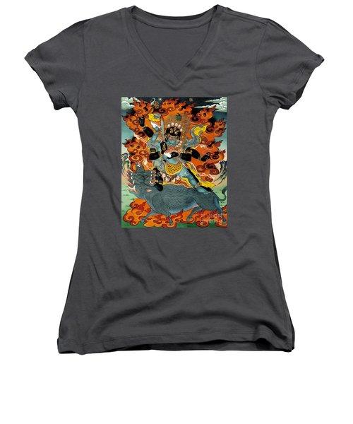 Black Hayagriva Women's V-Neck T-Shirt (Junior Cut) by Sergey Noskov