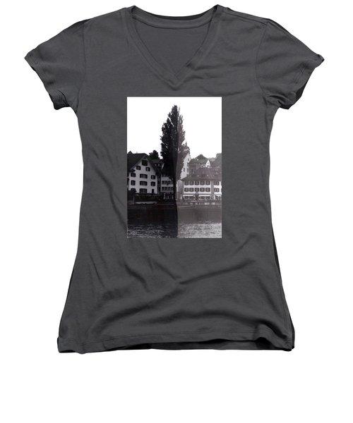 Black Lucerne Women's V-Neck T-Shirt (Junior Cut) by Christian Eberli