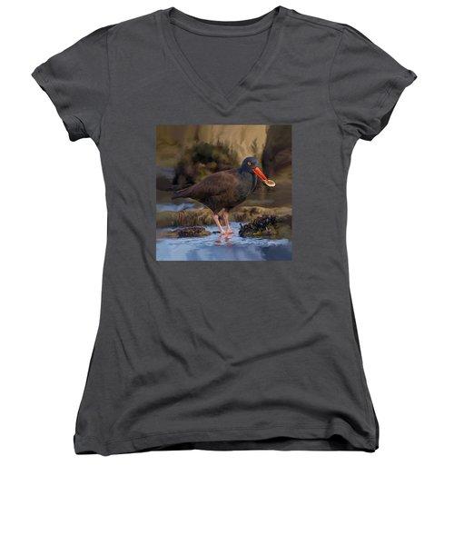 Black Oyster Catcher Women's V-Neck T-Shirt