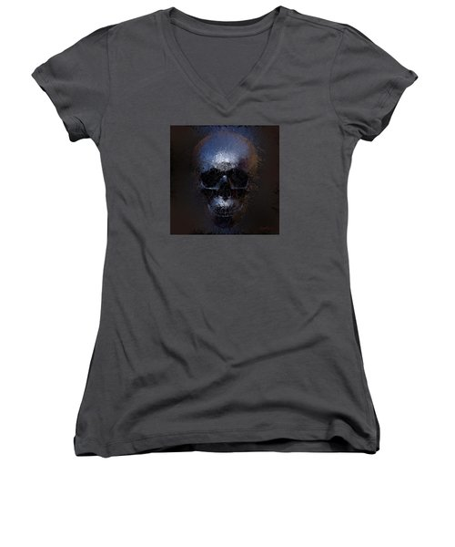 Black Skull Women's V-Neck T-Shirt (Junior Cut) by Vitaliy Gladkiy
