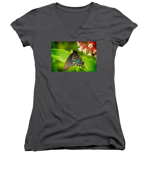 Black Swallowtail #1 Women's V-Neck (Athletic Fit)