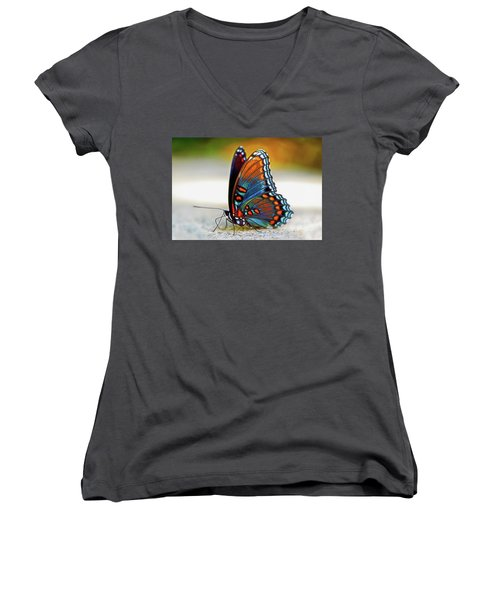 Black Swallowtail Butterfly 003 Women's V-Neck (Athletic Fit)