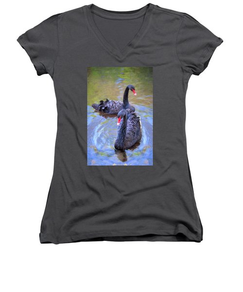 Black Swans Women's V-Neck