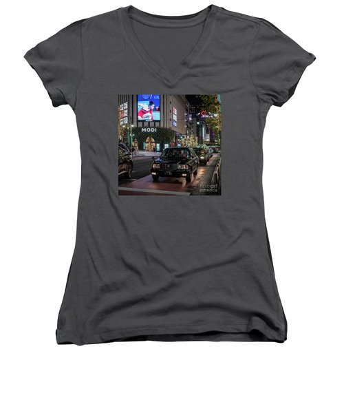 Black Taxi In Tokyo, Japan Women's V-Neck T-Shirt