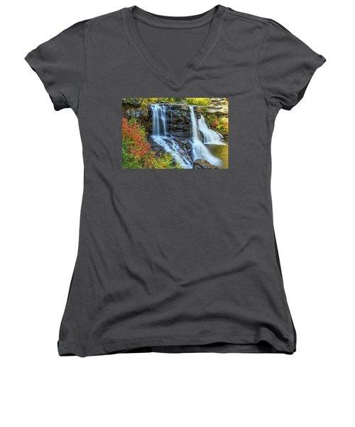 Black Water Falls #3 Women's V-Neck (Athletic Fit)