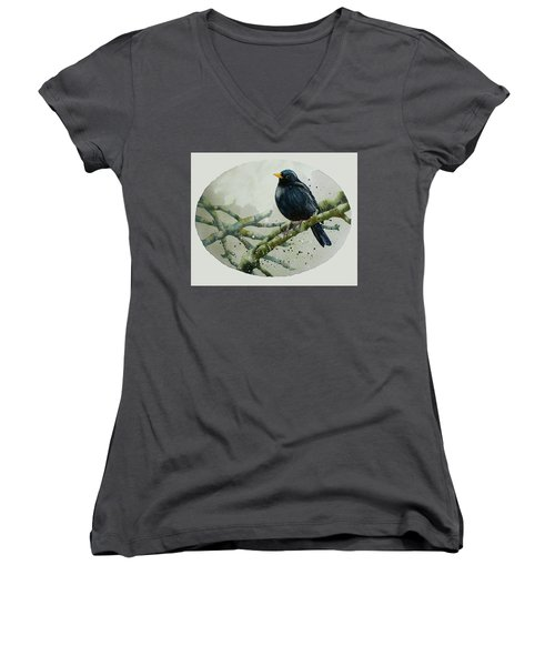 Blackbird Painting Women's V-Neck T-Shirt (Junior Cut) by Alison Fennell