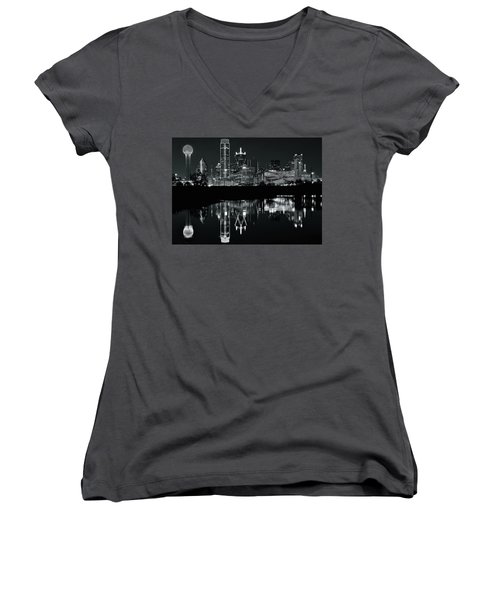 Blackest Night In Big D Women's V-Neck T-Shirt (Junior Cut) by Frozen in Time Fine Art Photography