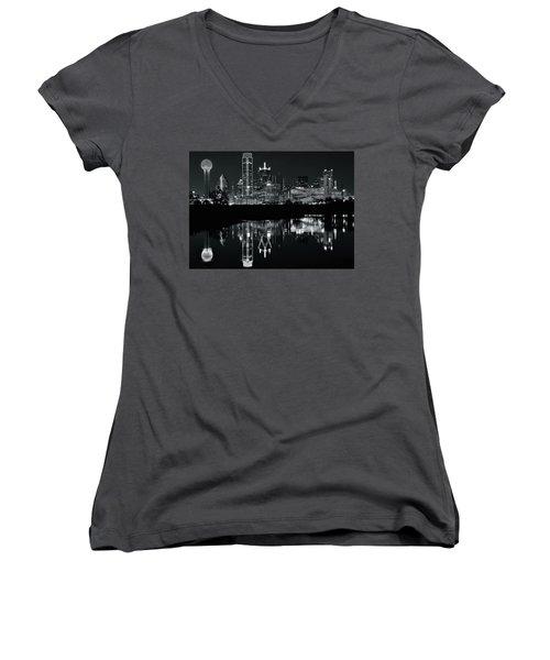 Blackest Night In Big D Women's V-Neck T-Shirt (Junior Cut)