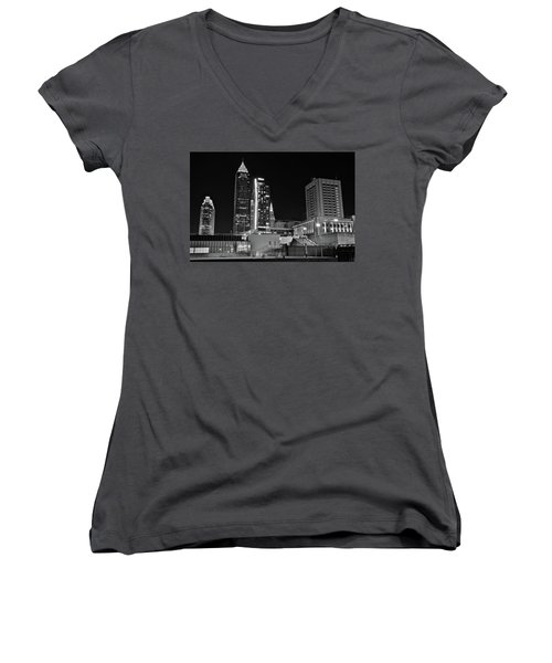 Women's V-Neck T-Shirt (Junior Cut) featuring the photograph Blackest Night In Cle by Frozen in Time Fine Art Photography