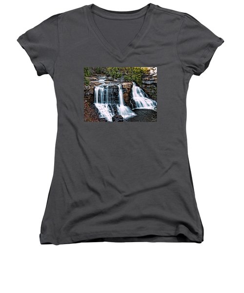 Blackwater Falls, West Virginia Women's V-Neck T-Shirt (Junior Cut) by Skip Tribby
