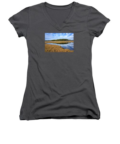 Women's V-Neck T-Shirt (Junior Cut) featuring the photograph Blackwater National Wildlife Refuge In Maryland by Brendan Reals
