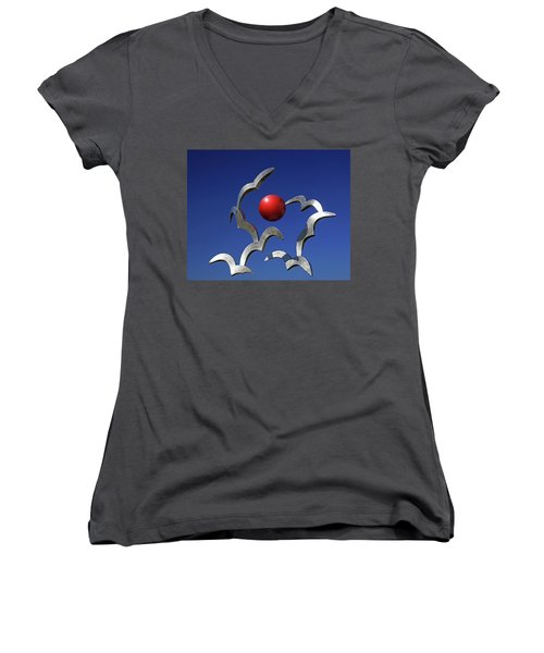 Women's V-Neck T-Shirt (Junior Cut) featuring the photograph Blades And Ball by Christopher McKenzie