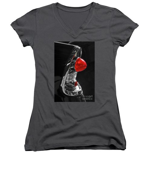 Women's V-Neck T-Shirt (Junior Cut) featuring the photograph Black '56 by Dennis Hedberg