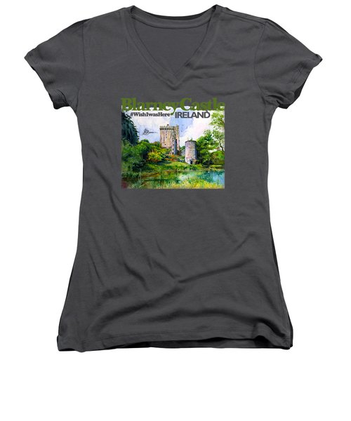 Blarney Castle Ireland Women's V-Neck (Athletic Fit)