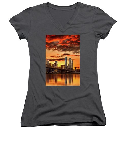 Blazing Manhattan Skyline Women's V-Neck T-Shirt (Junior Cut) by Az Jackson