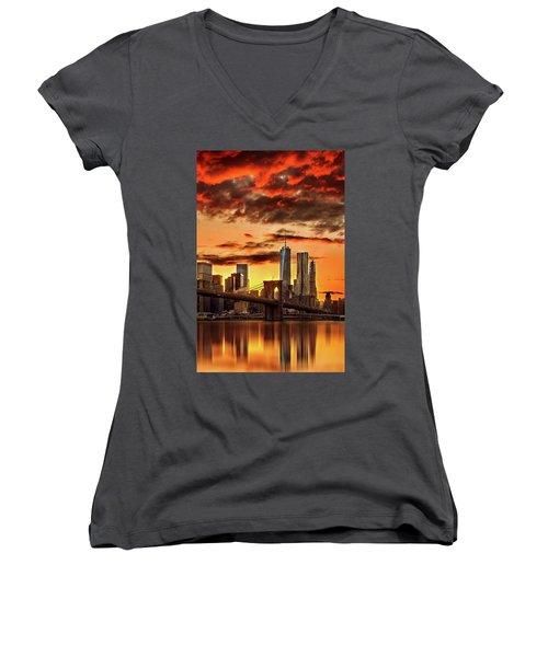 Blazing Manhattan Skyline Women's V-Neck