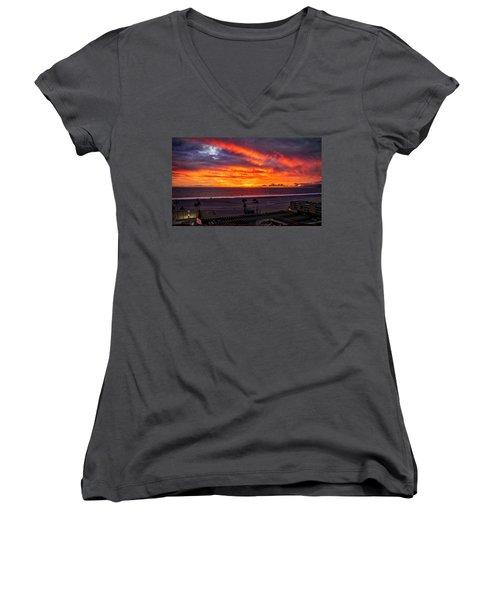 Blazing Sunset Over Malibu Women's V-Neck