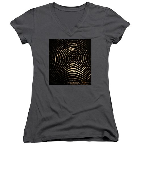 Women's V-Neck T-Shirt (Junior Cut) featuring the photograph Bleached Circles by Cynthia Powell