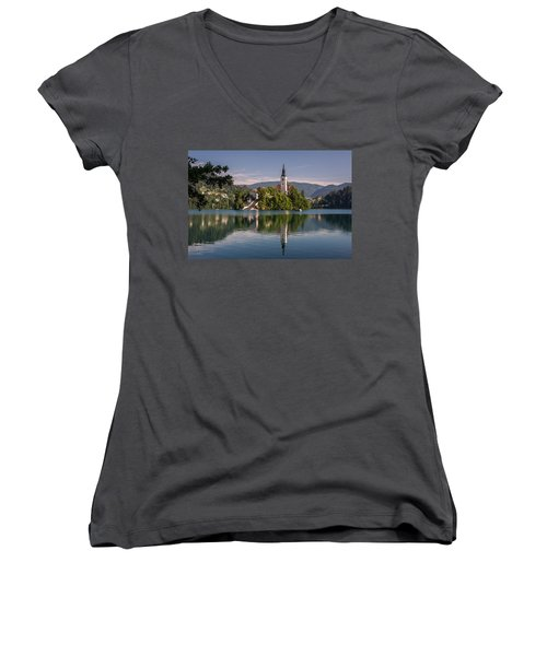 Women's V-Neck T-Shirt (Junior Cut) featuring the photograph Bled by Davorin Mance