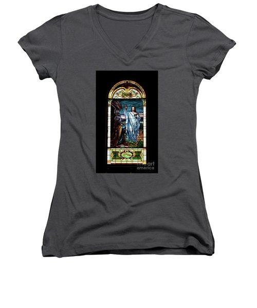 Blessed By Jesus Women's V-Neck T-Shirt
