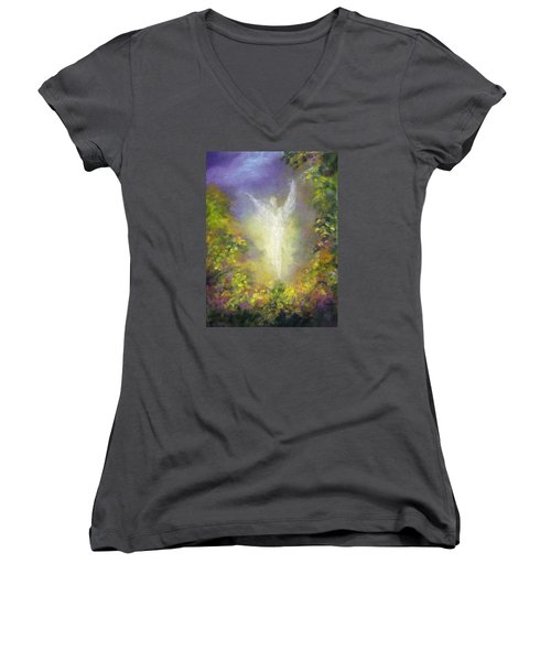 Blessing Angel Women's V-Neck T-Shirt (Junior Cut) by Marina Petro