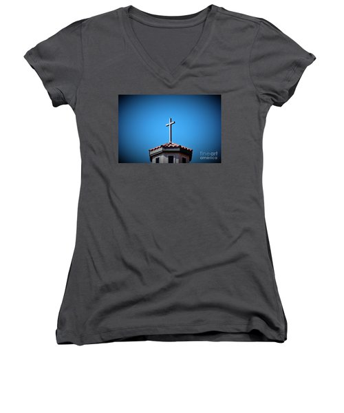 Women's V-Neck T-Shirt (Junior Cut) featuring the photograph Blessings To Everyone Of All Faiths by Ray Shrewsberry