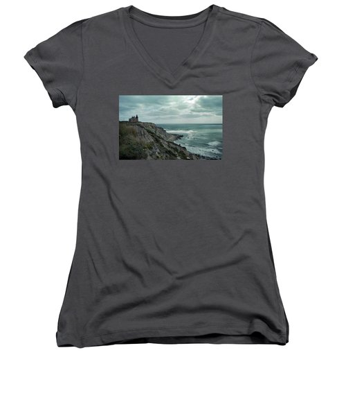 Block Island South East Lighthouse Women's V-Neck T-Shirt (Junior Cut) by Skip Willits