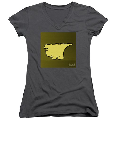 Women's V-Neck T-Shirt (Junior Cut) featuring the digital art Blockasaurus by Uncle J's Monsters