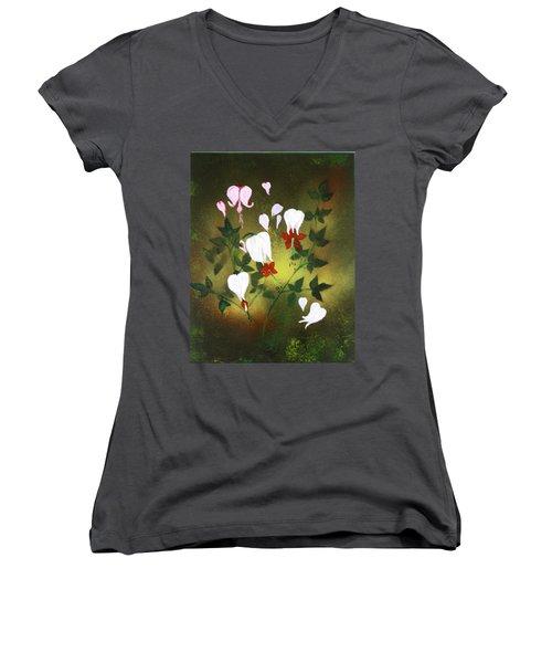 Blood Flower Women's V-Neck T-Shirt (Junior Cut) by Tbone Oliver