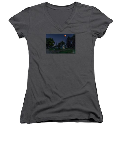 Blood Moon At Fairmount Cemetery Women's V-Neck T-Shirt