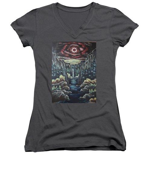 Blood Moon Women's V-Neck T-Shirt