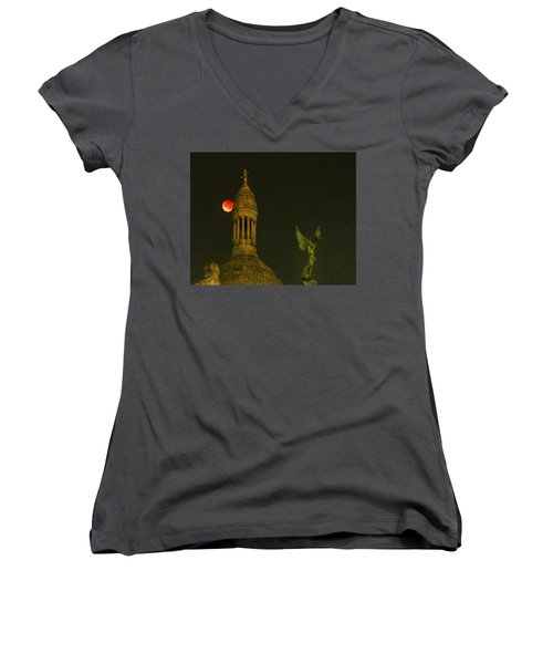 Blood Moon Eclipse At Sacre Coeur Paris  2015 Women's V-Neck T-Shirt (Junior Cut) by Sally Ross