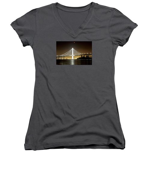 Blood Moon Over Bay Bridge Women's V-Neck T-Shirt