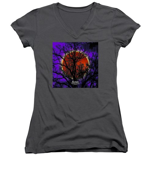Women's V-Neck T-Shirt (Junior Cut) featuring the photograph Blood Moon Trees by Barbara Tristan