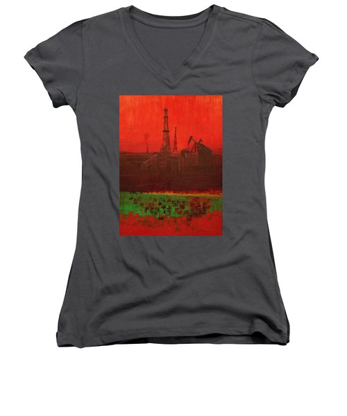 Blood Of Mother Earth Women's V-Neck (Athletic Fit)