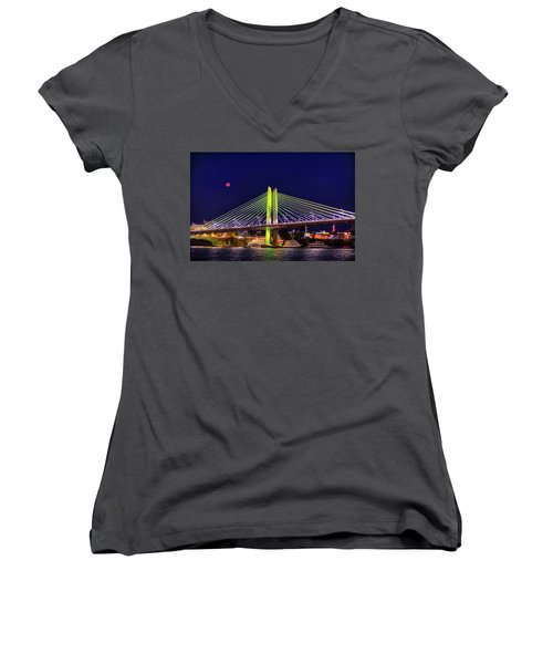 Blood Red Moon Over Tilikum Crossing Women's V-Neck