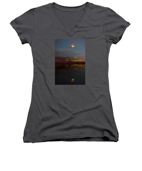 Bloody Reflection Women's V-Neck T-Shirt (Junior Cut) by Matt Helm
