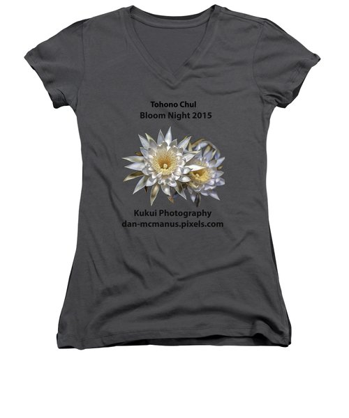 Bloom Night T Shirt Women's V-Neck T-Shirt (Junior Cut) by Dan McManus