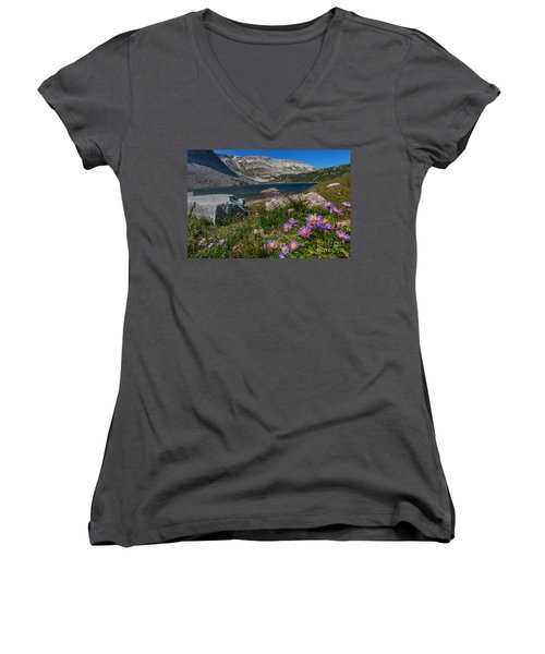 Blooming In Snowy Range Women's V-Neck (Athletic Fit)