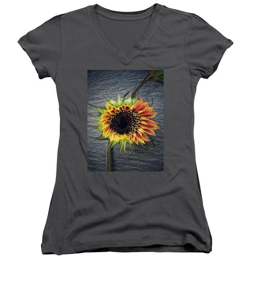 Blooming Women's V-Neck T-Shirt (Junior Cut) by Karen Stahlros