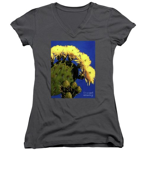 Blooming Prickly Pear Women's V-Neck T-Shirt