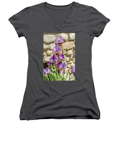 Blooming Purple Iris Women's V-Neck T-Shirt (Junior Cut) by Sue Smith