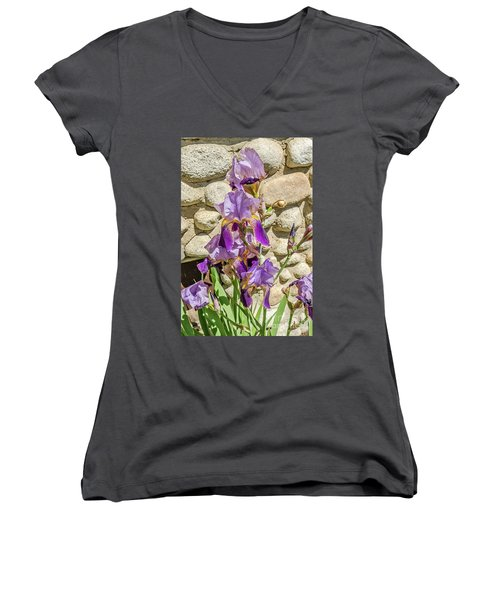 Blooming Purple Iris Women's V-Neck (Athletic Fit)