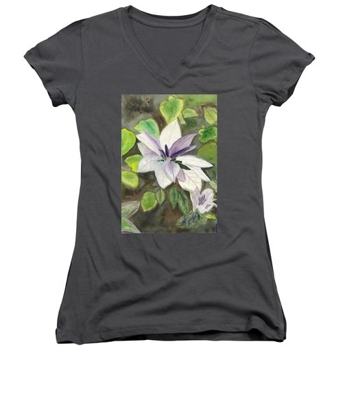 Women's V-Neck T-Shirt (Junior Cut) featuring the painting Blossom At Sundy House by Donna Walsh